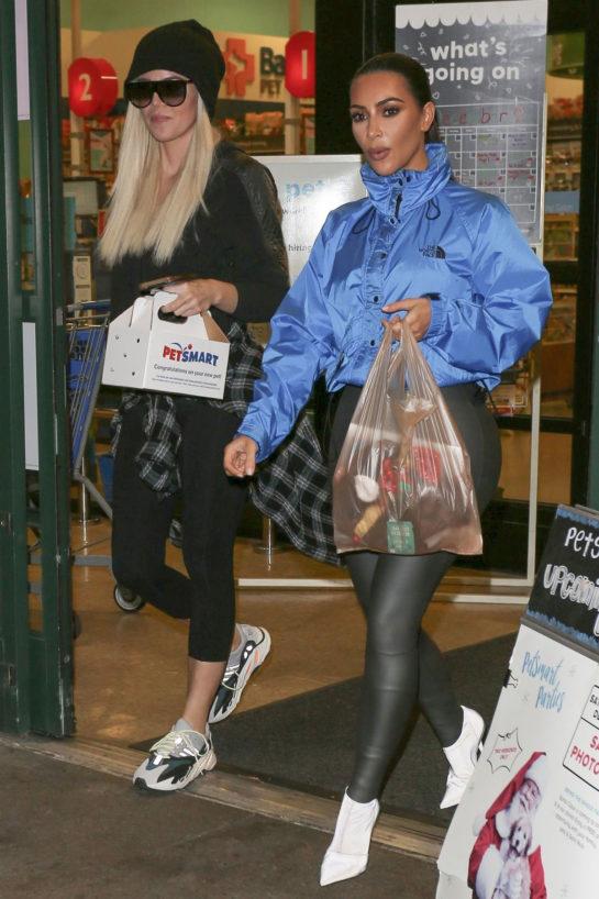 Kim and Khloe Kardashian Shopping at PetSmart Store in Woodland Hills