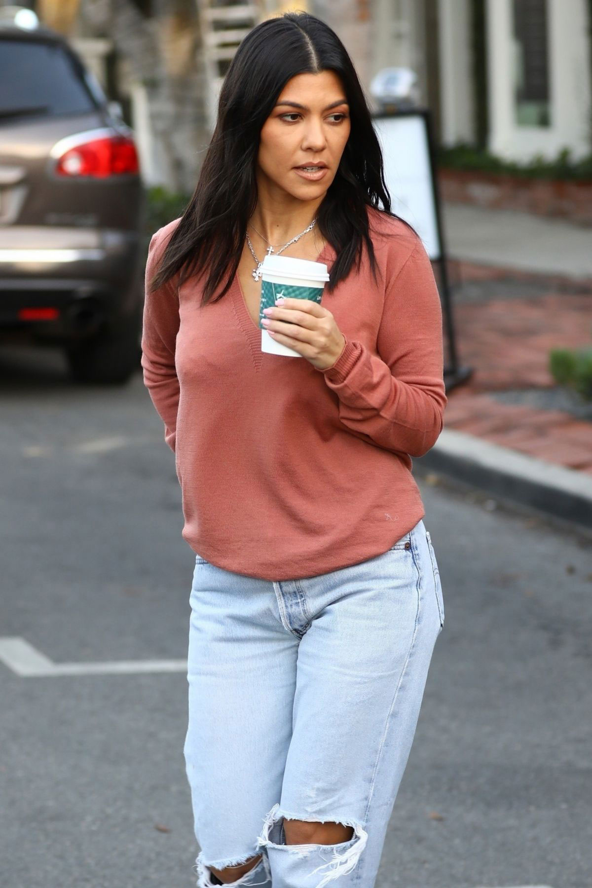 Street Style - Kourtney Kardashian Out for Coffee in West ...