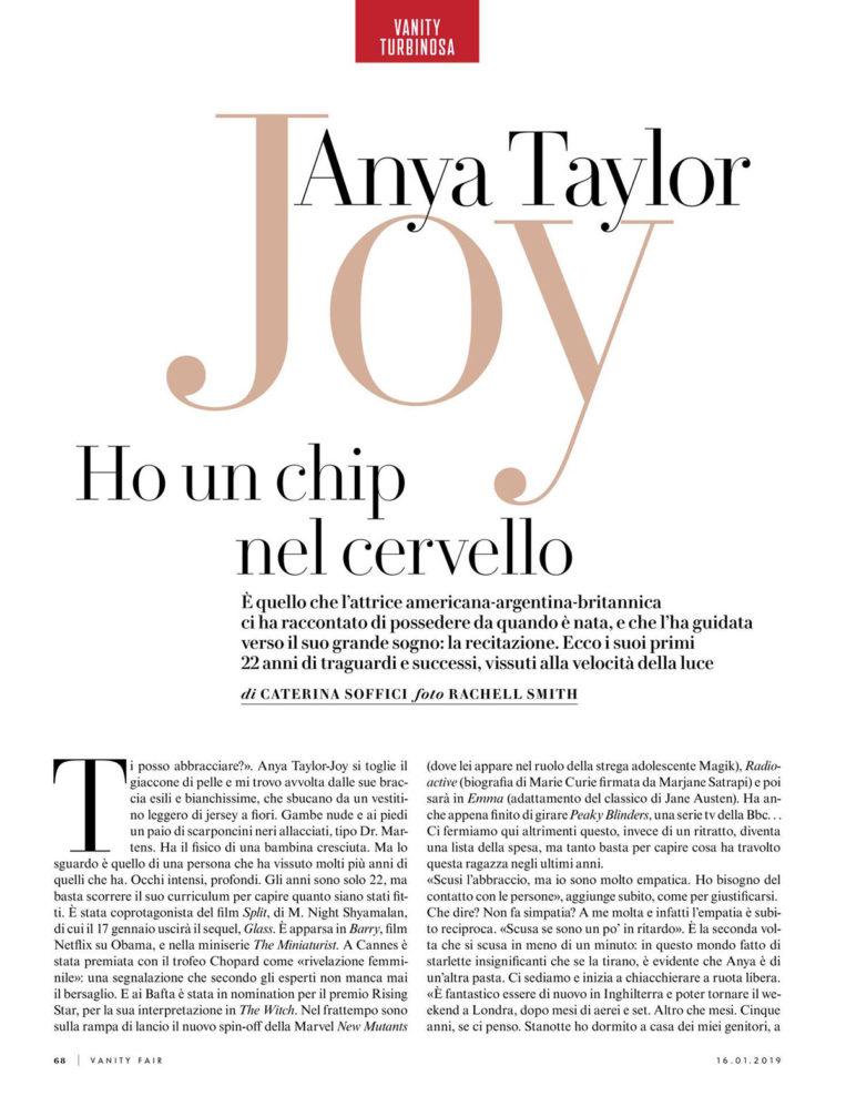 Anya Taylor-Joy in Vanity Fair Italy Magazine (January 2019)
