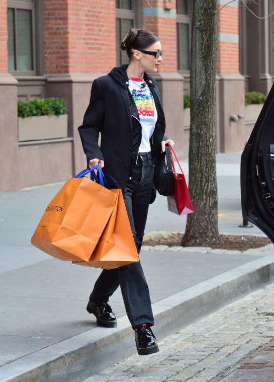 Bella Hadid Shopping at Louis Vuitton in NYC