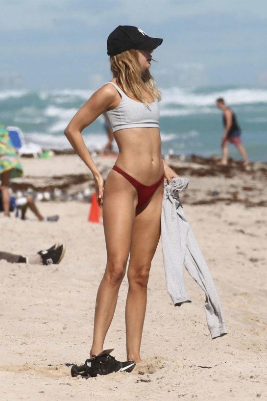 Kimberley Garner in Bikini Workout at a Beach in Miami