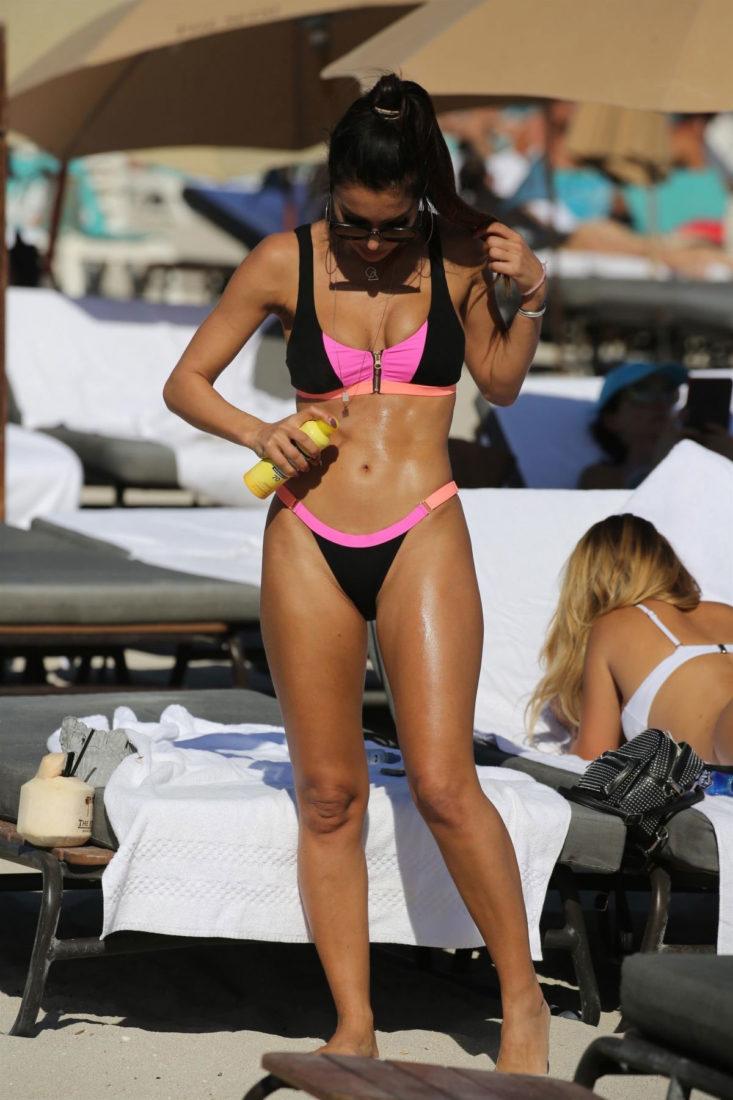 Metisha Schaefer in a bikini at the beach in Miami Beach