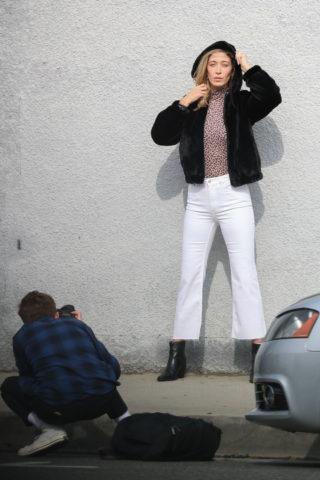 Alana Hadid on the Set of a Photoshoot on Melrose Avenue