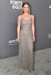 Bar Refaeli in a backless silver sequinned gown at 2019 amfAR New York Gala