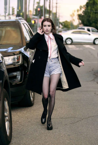 Emma Roberts in Denim Shorts Out with friends in Los Angeles
