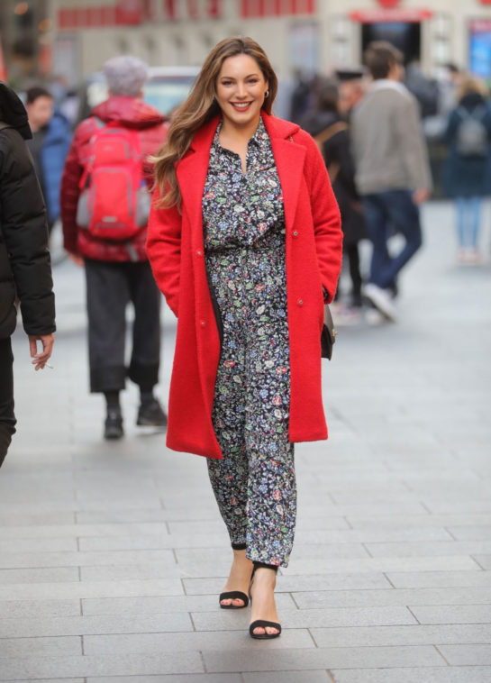 Kelly Brook in Red Coat Out in London