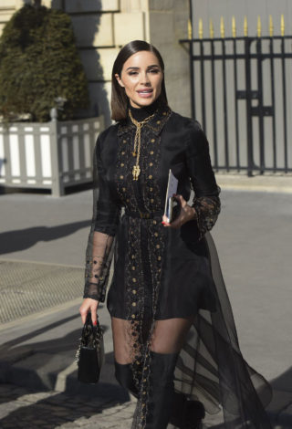 Olivia Culpo in a Sheer Black Gown and Thigh-high Boots Out and About in Paris