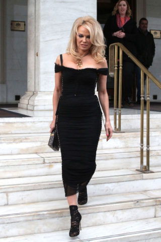 Pamela Anderson in Black Bardot Dress and Lace Boots Out and About in Athens