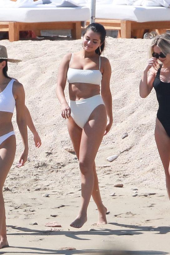 Selena Gomez in White Bikini at the Beach in Cabo San Lucas