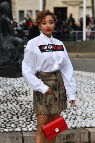 Amandla Stenberg at Miu Miu Show at Paris Fashion Week