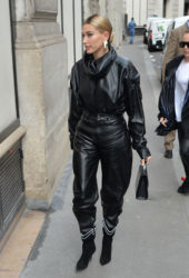 Hailey Bieber Arriving to Louis Vuitton Fitting in Paris