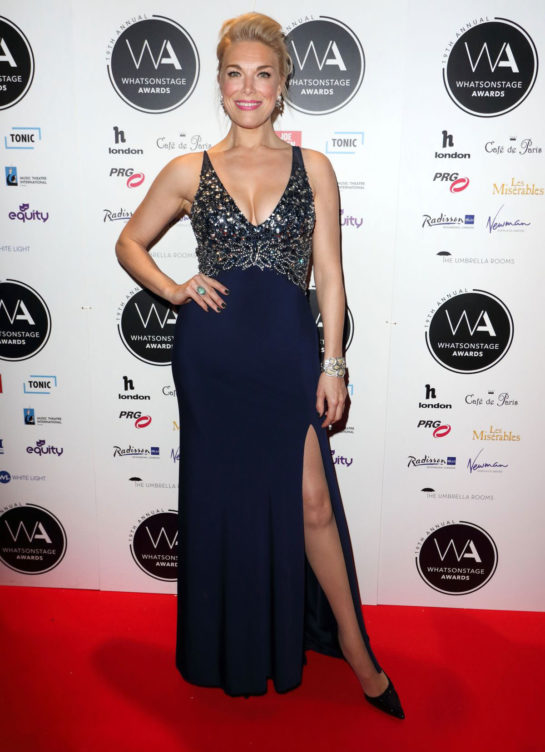Hannah Waddingham at Whatsonstage Awards 2019 in London