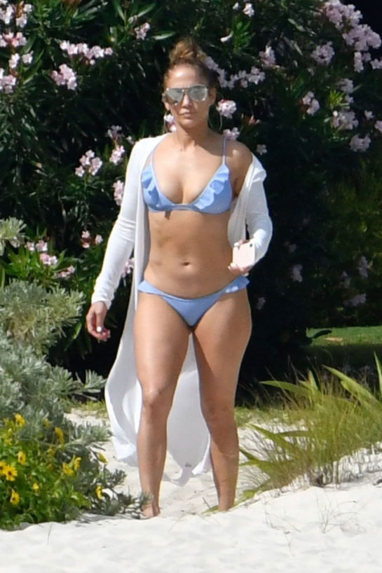 Jennifer Lopez in Light Blue Bikini at a Beach in Bahamas
