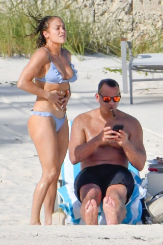 Jennifer Lopez in Light Blue Bikini at a Beach in Bahamas