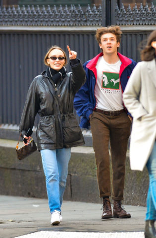 Lily-Rose Depp in a Leather Jackets Out in New York