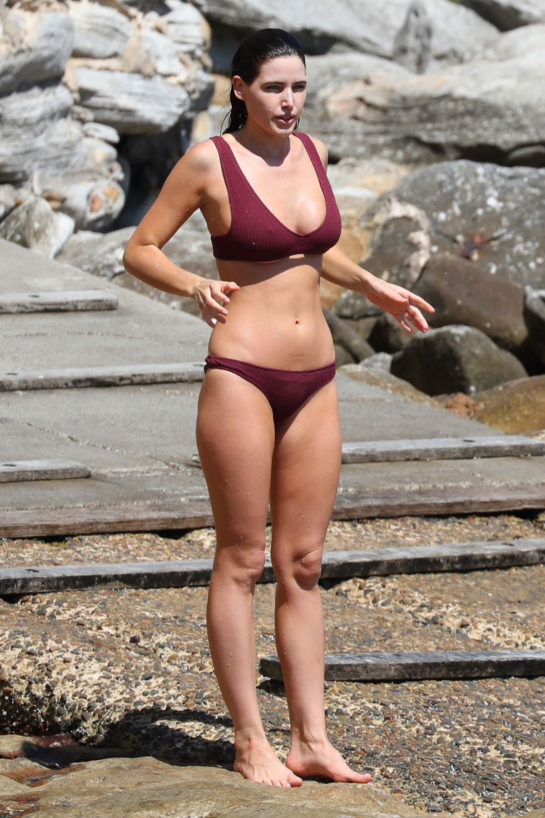 Tahnee Atkinson in a bikini from her own Kenni & Kai swimwear range at Bondi Beach, Australia