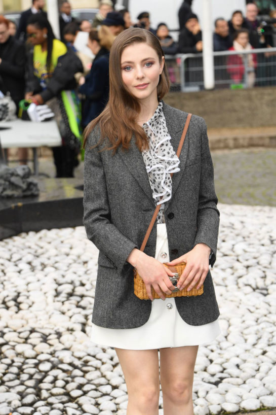 Thomasin McKenzie at Miu Miu Show at Paris Fashion Week
