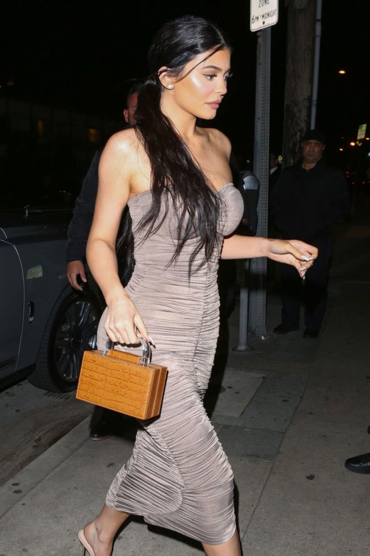 Kylie Jenner in Tight Dress Out for Dinner in Santa Monica