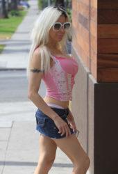 Angelique Morgan in Denim Mini Skirt