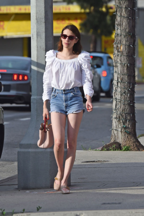 Emma Roberts in Denim Shorts Out in Los Angeles
