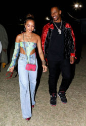 Karrueche Tran and Victor Cruz at Coachella's Neon Carnival