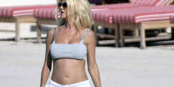 Victoria Silvstedt on the Beach in St Barths