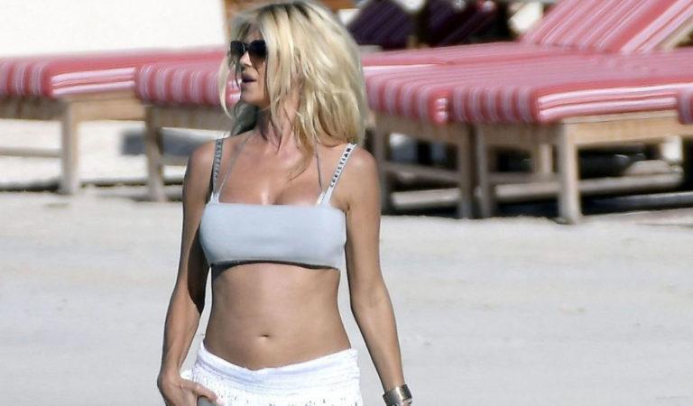 Celebrity Bikini – Victoria Silvstedt on the Beach in St Barths