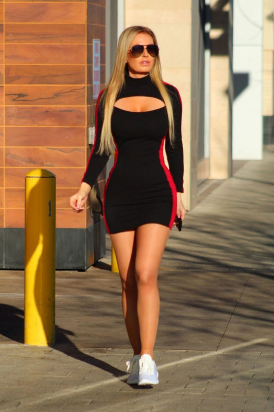 Ana Braga in Tight Dress Out in Los Angeles