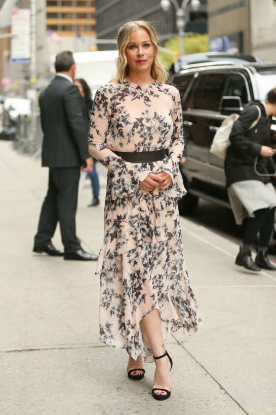 Christina Applegate in Floral Print Dress Arrives at Late Show With Stephen Colbert in New York