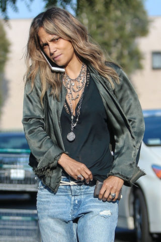 Halle Berry in Ripped Jeans in Los Angeles