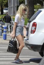 Lottie Moss in Denim Shorts Leaving Ibiza