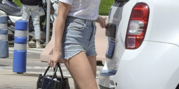 Lottie Moss in Denim Shorts Leaving Ibiza