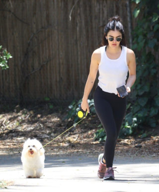 Lucy Hale with her dog Elvis out in Hollywood Hills