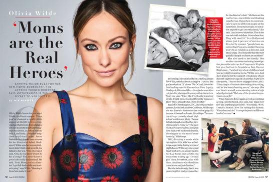 Olivia Wilde in People Magazine, June 2019