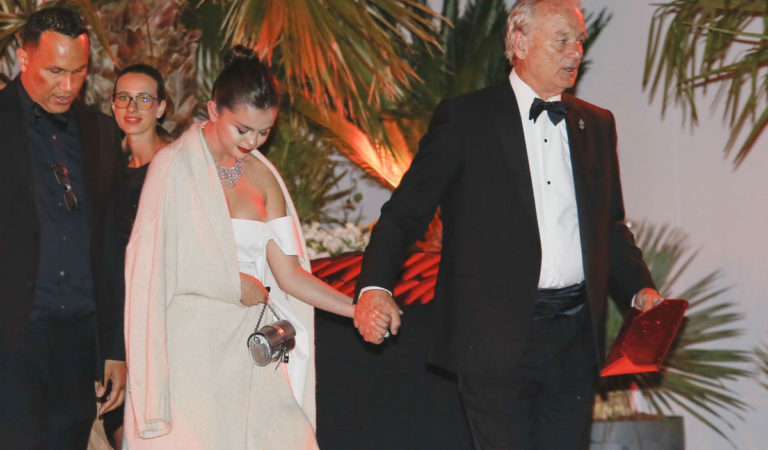 Celebrity Night Out – Selena Gomez and Bill Murray Leaves Agora Restaurant in Cannes