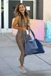 Katrina Scott in a Leopard Exercise Outfit Leaves Popsugar Playground in New York