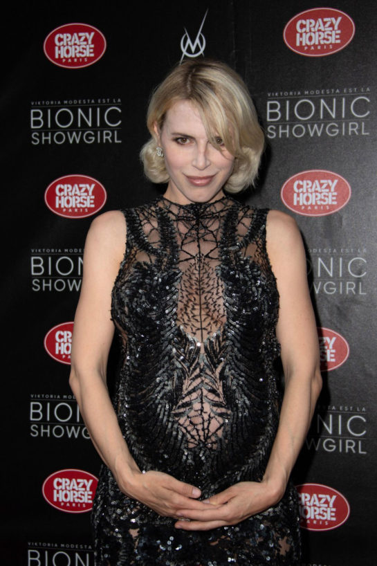 Pregnant Aria Crescendo at Bionic Showgirl Premiere in Paris