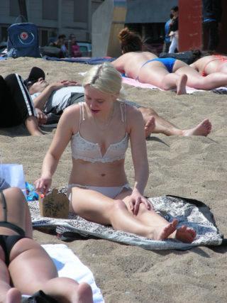 Zara Larsson in Tiny White Lace Bikini at a Beach in Barcelona