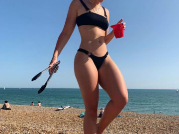 Ella Eyre in Bikini at Brighton Beach