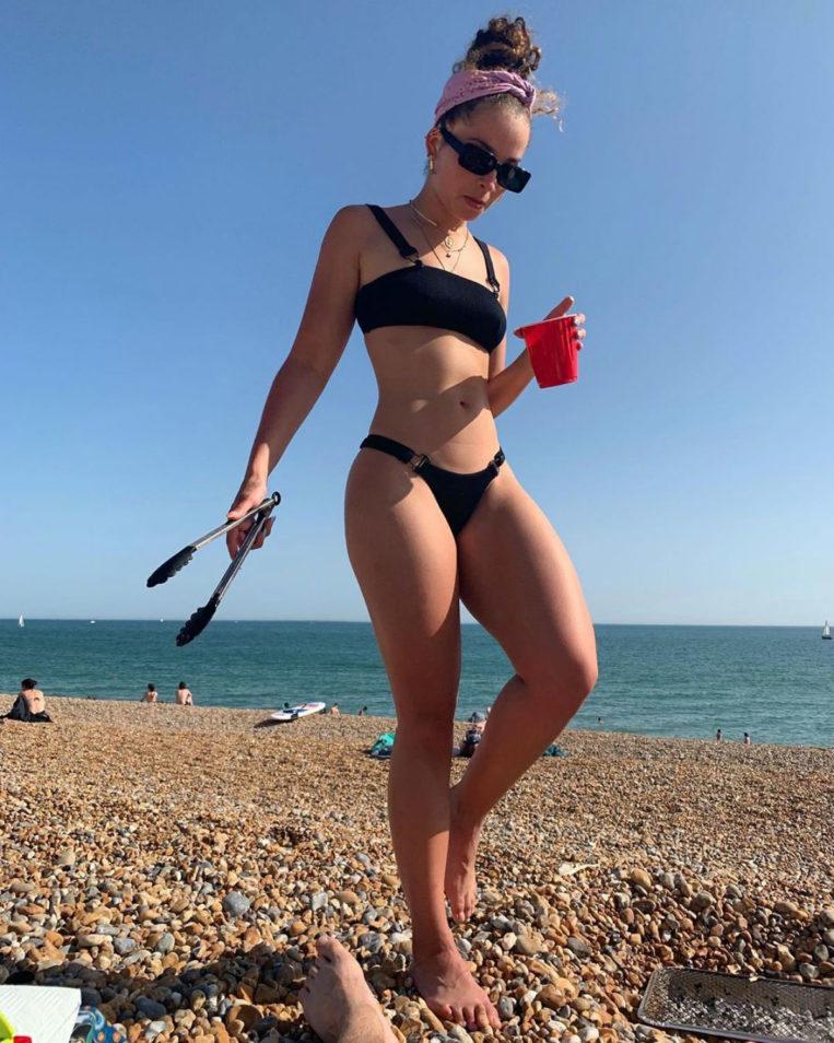 Ella Eyre in Bikini at Brighton Beach