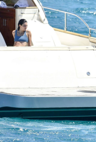 Kendall Jenner in Blue Bikini on a yacht in Corsica