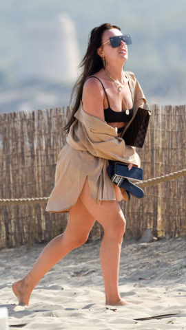 Rosie Williams in Black Bikini at Beach in Ibiza