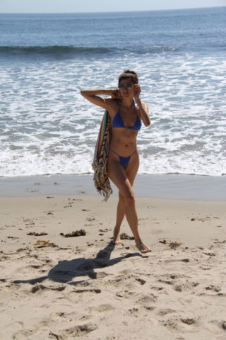 Blanca Blanco in Blue Bikini at the beach in Malibu