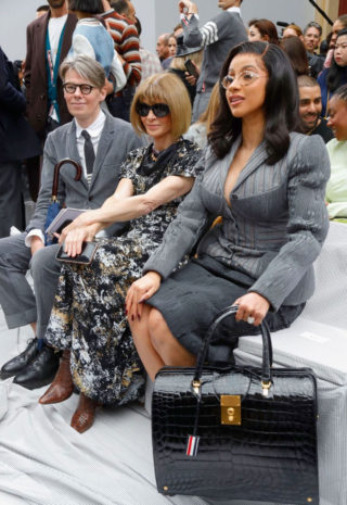 Cardi B at Thom Browne Show at Paris Fashion Week