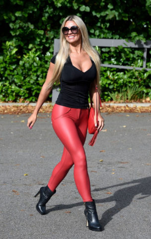 Christine McGuinness in Tight Red Leather Trousers Out in Cheshire