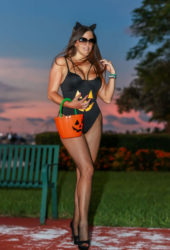 Claudia Romani Ready for Halloween at Miami Beach