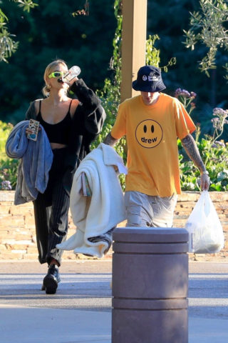 Hailey and Justin Bieber at a Park in Beverly Hills