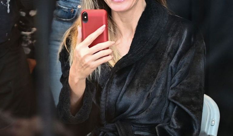 Makeup – Heidi Klum Costume Unfold on Amazon Display Window Live Begins in New York