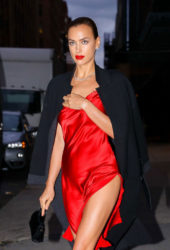 Irina Shayk in a Red Satin Dress Leaves Photoshoot in New York