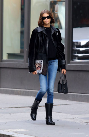 Kaia Gerber in Denim Out in New York